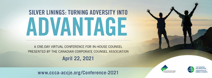 Silver Linings: Turning Adversity into Advantage. A one-day virtual counsel for in-house counsel presented by the CCCA on April 22, 2021. Image of two people summiting a mountaintop