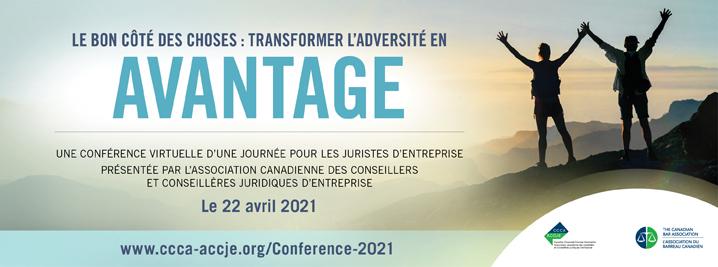 Conférence nationale 2021 de l'ACCJE. Le bon côté des choses : transformer l'adversité en avantage. Le 22 avril 2021. Image de deux personnes au sommet d'une montagne.